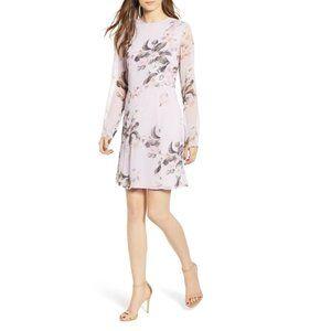 NWT Leith Long Sheer Sleeve Floral Dress Purple XL